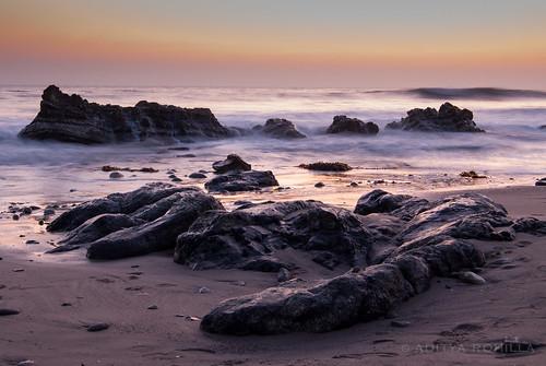 california longexposure sunset sea mist beach water rock santabarbara landscape coast nikon rocks waves outdoor wave pacificocean socal shore southerncalifornia westcoast goldenhour californiacoast hendrysbeach arroyoburrobeach d40x