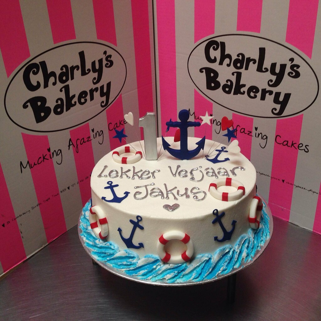 Awesome Nautical Themed 1St Birthday Cake Iced In White Butter Ici Flickr Personalised Birthday Cards Veneteletsinfo