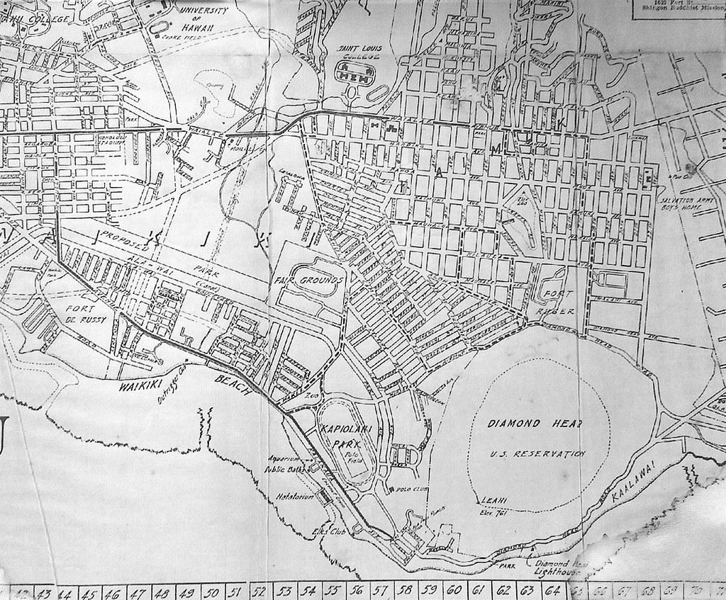 Shingon Buddhist Mission map of the Waikiki, Mo'ili'ili, K