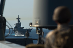 USS Essex (LHD 2) steams behind USS Anchorage (LPD 23) during a strait transit exercise as part of CERTEX. (U.S. Navy/MC3 Liam Kennedy)