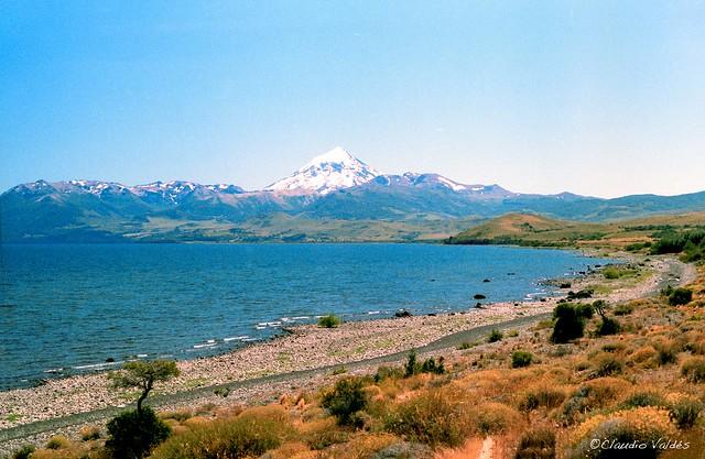 Huechulafquen Lake and Lanín Volcano