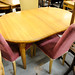 Oval natural pine extendable table