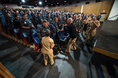 Adm. Scott Swift, commander of U.S. Pacific Fleet, and U.S.       Pacific Fleet Master Chief Suz Whitman, meet with Sailors assigned to       Naval Base Kitsap-Bangor during an all-hands call. (U.S. Navy/MC3       Seth Coulter)