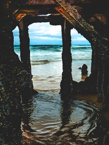 ocean window nature southafrica view doorway wreck westerncape glentana