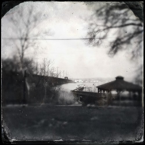 wood city bridge trees nature water grass stone architecture fence river square landscape lights cellphone maryland gazebo tintype 365 distressed phonephoto susquehanna apps iphone perryville cecilcounty phoneography marylandnature squarelandscape iphoneography fencefriday hipstamatic iphone5s tinto1884lens dtypefilm havredegrade
