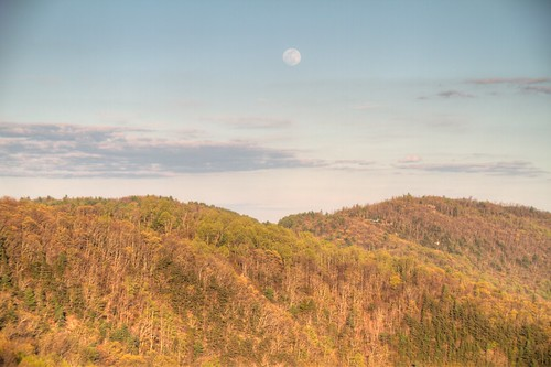 road trees mountains evening nationalpark spring woods view may northcarolina fullmoon hills vista overlook boone blueridgeparkway 2015 iphoneapplighttrac