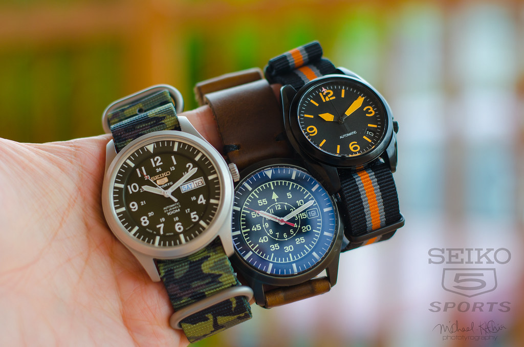 WatchX13 Seiko5 Mods | Seiko SNZG Flieger, Camo and SNK Sinn