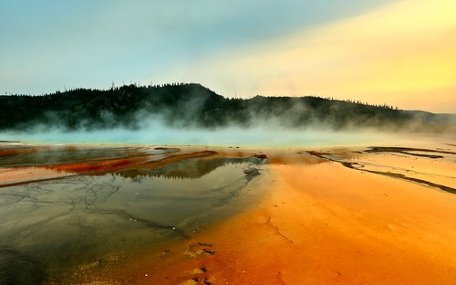 new sunset sky lake reflection water landscape countryside spring bright outdoor yellowstonenationalpark yellowstone gps hotspring sunsetlight hdr grandprismaticspring