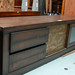 Low darkwood TV unit glass door