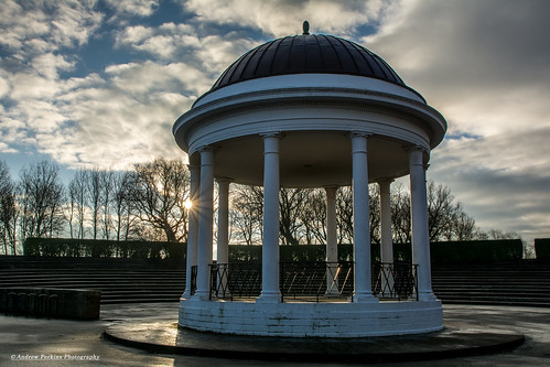bandstand stanley park blackpool sunburst building architecture sunrise clouds