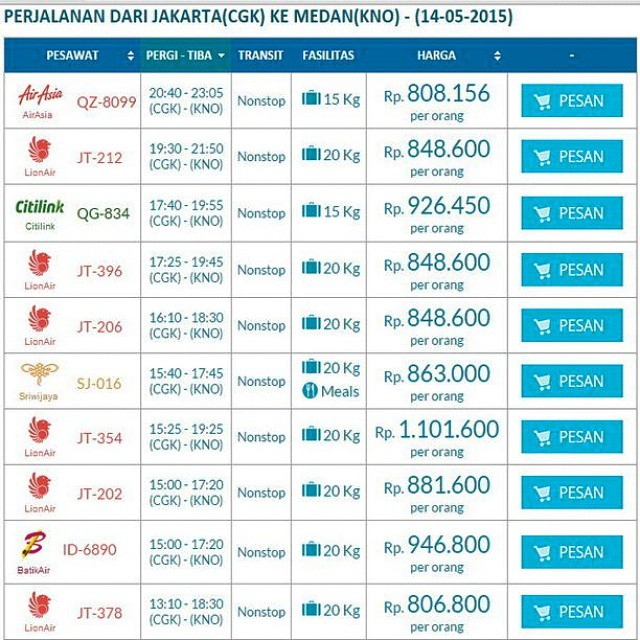 Promo Tiket Pesawat 14 Mei 2015 Jakarta Medan Harga Mu