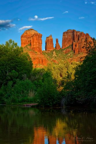 arizona mountains reflections nikon sedona fullmoon redrocks nik cathedralrock everydaymiracles d700 johnchouse aurorahdr