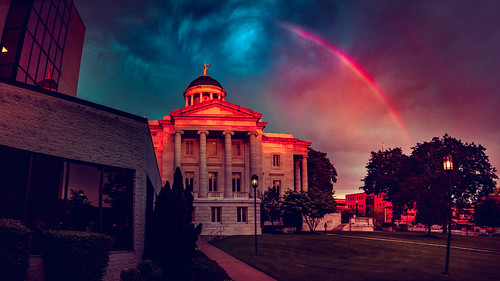 spring weather rainbow sunset northamerica storm astronomicalevent architecture newjersey skyscape unitedstates somersetcounty somerville somersetcountycourthouse court courthouse usa us
