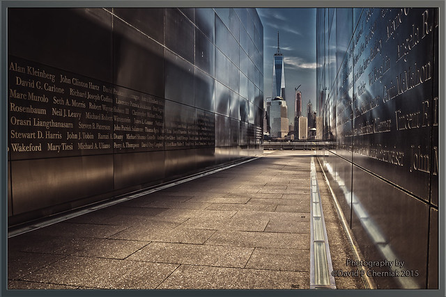 Empty Sky Memorial Name's of 749 Murdered from NJ and Freedom Tower in NYC HDR from Liberty State Park, NJ.