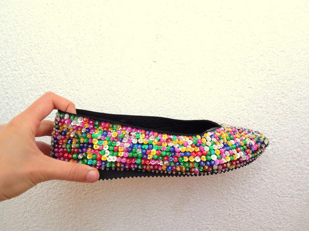 80s Disco Queen Flat Shoes | multi color sequin cocktail sho