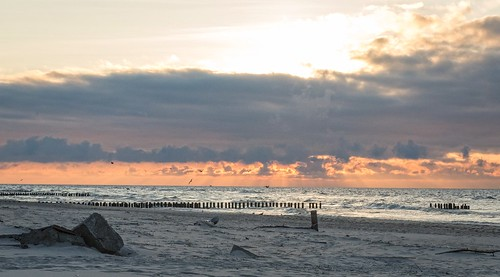 sunset clouds evening seaside dźwirzyno