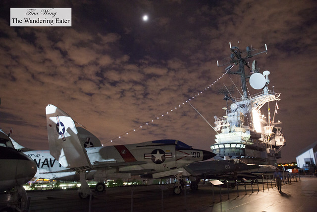 War planes, hazy moon and the station on the Flight Deck