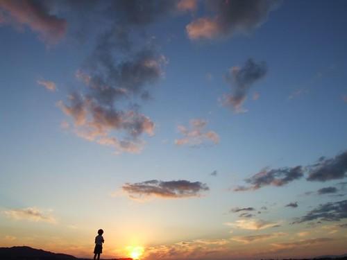 sunset sky cloud silhouette geotagged scenery child  夕焼け 空 geolat343390117 geolon1347343789