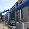 blue pipes and signs