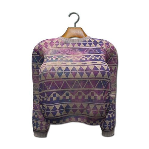 {MYNX} Cropped Sweater - Geometric Tribal