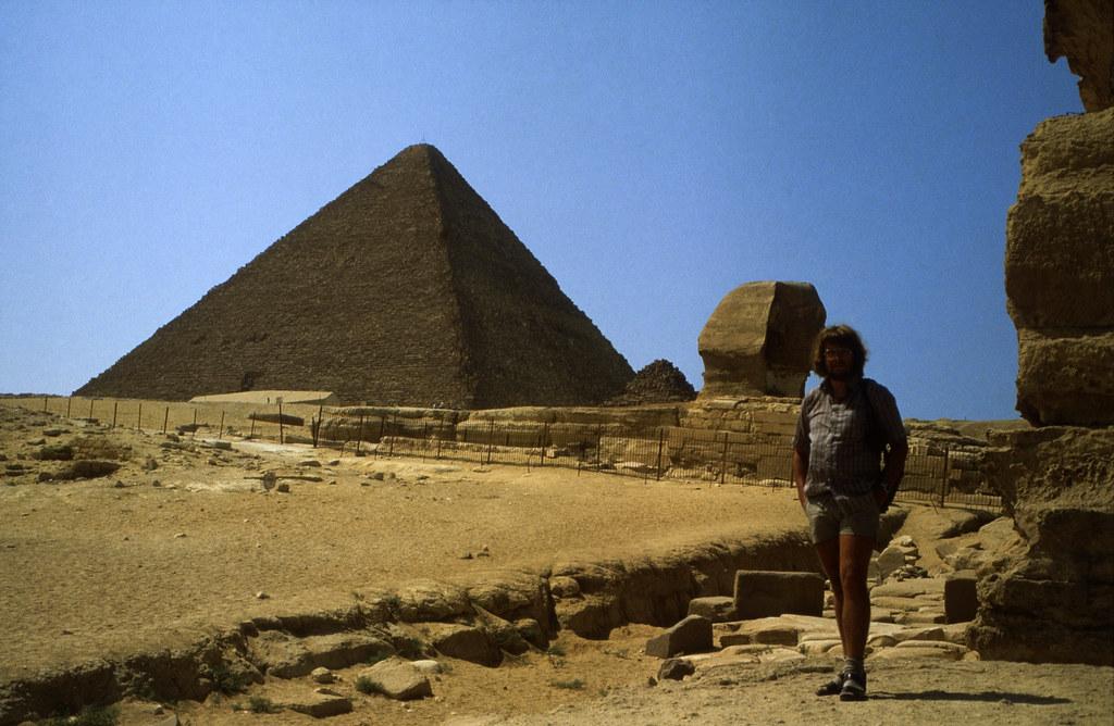 Ägypten 1983 (21) Gizeh: Sphinx und Cheopspyramide
