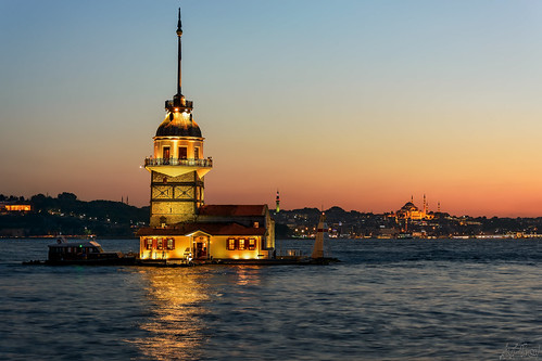 landscape travel vacation istanbul turkey architecture colors voyager maidenstower sunset city cityscape bosphorus sundown lights reflection sparkle