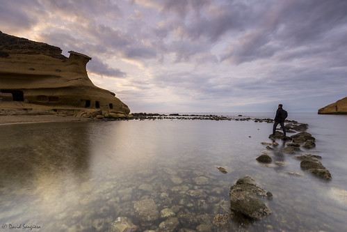 canoneos6d canonef1635mmf4lisusm tripod landscape seascape cloudscape waterscape clouds horizon rocks shoreline sunrise calm almería calacocedores longexposure reflections shadows selfportrait magiclight magicalalmería