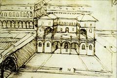 Croquis attribué à Léonard de Vinci, encre sur papier, XVIème siècle