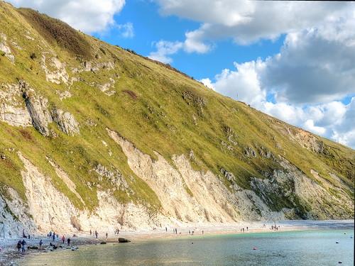 uk blue sea sky beach clouds bay cove cliffs shore dorset lulworthcove jurassiccoast