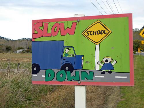 newzealand roadsign aotearoa wairarapa schoolsign tinui 101pics201574 101picturesin2015 castlepointweekend2015 101pictures74 tin6431