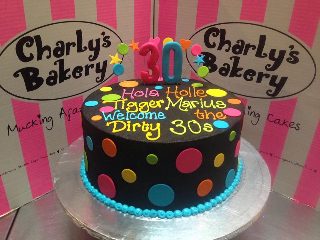 Remarkable Single Tier 30Th Birthday Cake Iced In Black Chocolate Ganache Funny Birthday Cards Online Necthendildamsfinfo