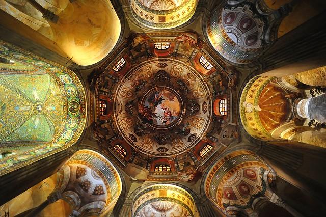Frescoed ceilings in Basilica San Vitale, Ravenna, Italy, May, 2015 006