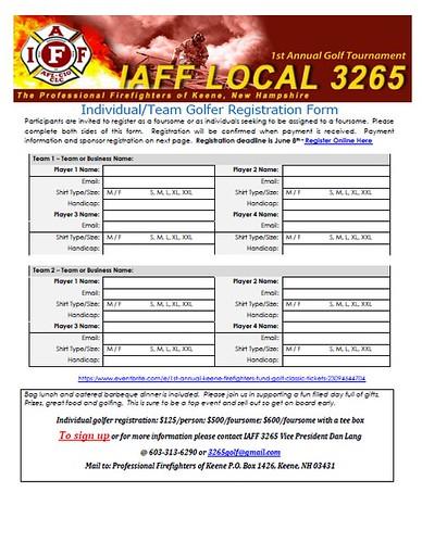 1st ANNUAL IAFF LOCAL 3265 KEENE FIREFIGHTERS/FIRE MUTUAL