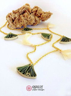 Quilly Paper Design Ginko Leaves and Tassels Necklace | by all things paper