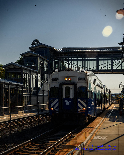 A Sounder North Train Pulls Into Mukilteo Station... In Kodachrome