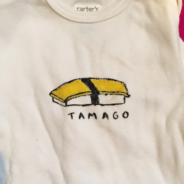 Goodbye hand-painted tamago onesie I made for Ollie back in 2007.