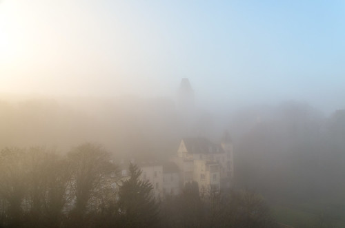 city fog sunrise europe luxembourg luxemburg valléedelapétrusse