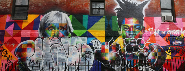 Panorama Fight for Street Art N 9th St and Bedford Ave Greenpoint Brooklyn New York