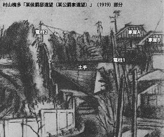 村山槐多「某侯爵邸遠望(某公爵家遠望)」(1919)部分 | by omolo.com