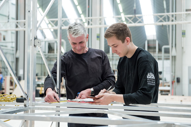 Steven Hughes, Metalwork Foreman, and Tommy Judd, Scenic Metalworker Apprentice © ROH/Sim Canetty-Clarke, 2015