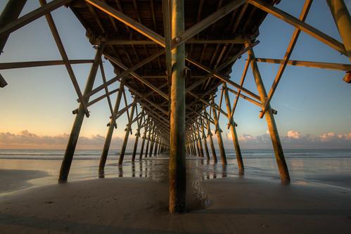 travel vacation clouds photoshop sunrise pier nikon unitedstates outdoor southcarolina symmetry atlantic d750 follybeach atlanticocean hdr sidelight 1635mm photomatix