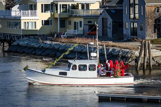 Santa Arrives on Lobster Boat