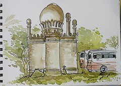 Old Mosque with Buses in Bijapur