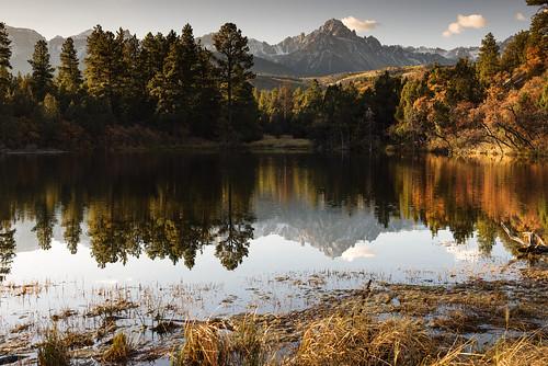 colorado morning mountain reflectionpool pond wild foest fallfoliage