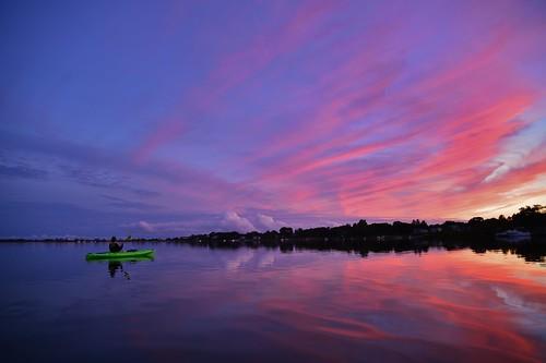 salt ninigret pond reflection paddle kayak sunset color water lake coast rhodeisland ri wow beautiful nikon d610 rwgrennan rgrennan ryan grennan quonochontaug neck clouds cloud sky new england ne northeast coastal lagoon boat
