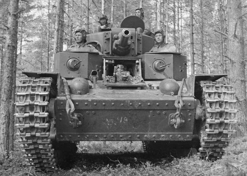 Finnish soldiers in a captured Russian T-28