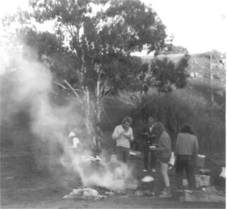 Ride Against Uranium breakfast camped on the banks of Yass River, May 1976