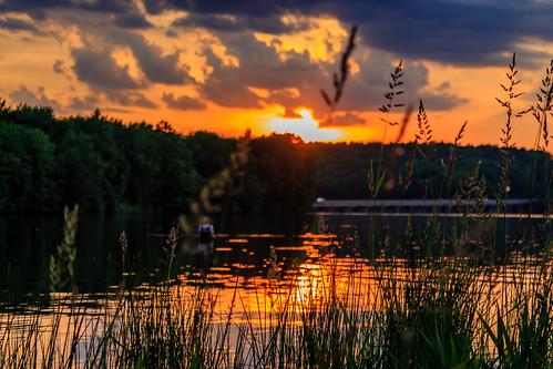 sunset lake landscape scenic moraine davidsharo