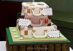 Personalised suitcase stack wedding cake