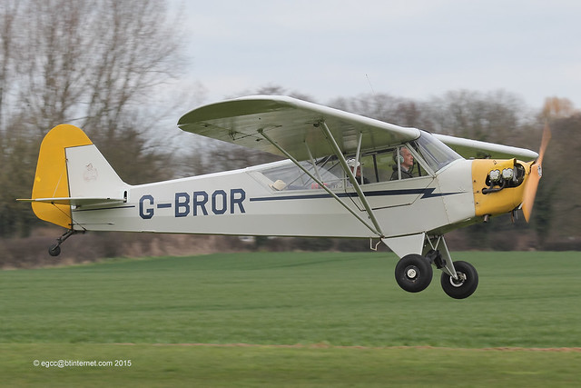 G-BROR - 1943 build Piper J3C-65 Cub, arriving on Runway 10 at Breighton